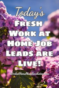 Today's Fresh Work at Home Job Leads are Live! This is a list of fresh work from home job leads published on Work at Home Mom Revolution. If you're looking for a home-based job, this is the place to start! You can make money from home! #MakeMoneyOnline WorkatHomeMomRevo...