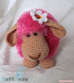 DIY Adorable Knitted Lamb Pillow pink 1