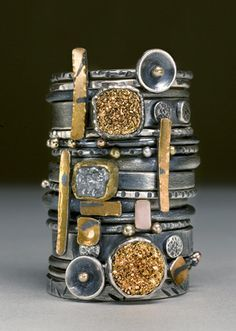 Neat-OH!! jewelry image of Stack rings- Oxidised silver, 22k&18k yellow gold, 14k rose gold, 22k gold bi-metal, raw diamond, gold plated druzy. Sold in sets of six rings. Each set will vary.