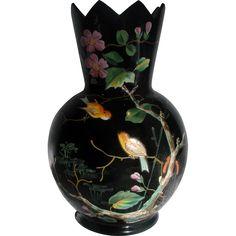 Bohemian Black Art Glass Vase Hand Enameled Song Birds & Dragonflies c 1880