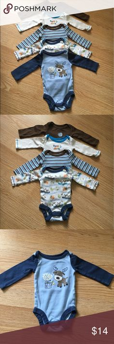 Long sleeve onsies! Babies r us long sleeve onsies!!! Adorable prints!! Navy and blue moose onsie is 0-3 m, the others are newborn! Soft cotton fabric, great condition!! One Pieces Bodysuits