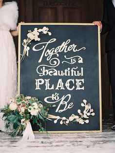 Wedding chalkboard sign | Photography: Laura Leslie Photography - www.lauralesliephotography.com Photography: Gracie Blue Photography - www.grblue.com Read More: http://www.stylemepretty.com/2014/04/24/enchanted-winter-wedding-inspiration/