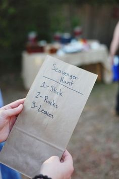Camping Kids DIY: List scavenger hunt items on a paper bag and use the bag to collect the items.