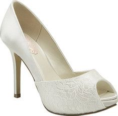These dyeable satin bridal shoes have a lace covered open toe. Enjoy the comfort of a padded sole on your special day.