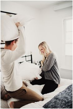 Eden Strader Photo, In home session, newlywed session, lifestyle photoshoot, couple pillow fight, white home inspiration, in home couple's session