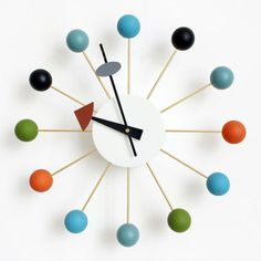 Multi-Color-Mid-Century-Danish-Nelson-Style-Sunburst-Atomic-Ball-Wall-Clock
