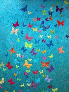 Butterfly Quilt Pattern, Applique Quilt Patterns, Applique Designs, Colchas Quilting, Quilting Ideas, Quilting Tutorials, Quilting Projects, Sampaguita, Machine Applique