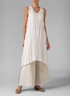 Linen Crumple Effect Sleeveless Long Top Off White