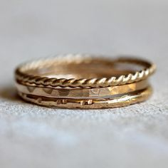 Gold stacking rings 14k gold stacking rings - praxis jewelry $240.00