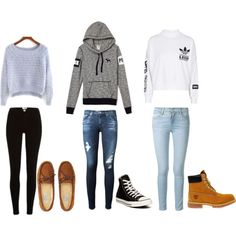 cute outfits by karynronzaa on Polyvore featuring adidas, Frame Denim, AG Adriano Goldschmied, Aéropostale, Timberland, Converse, women's clothing, women's fashion, women and female