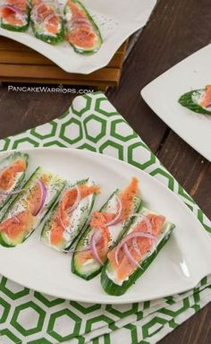 A healthy, quick and easy snack recipe, these Smoked Salmon Cucumber bites are the perfect way to satisfy your snack needs. Gluten free, paleo | http://www.pancakewarriors.com
