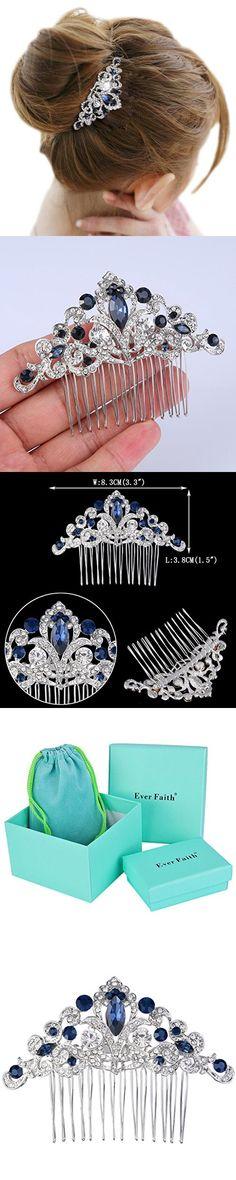 EVER FAITH® Silver-Tone Austrian Crystal Elegant Wedding Flower Vine Hair Comb Navy Blue