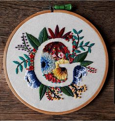 Hand embroidered, for a baby& gift. Embroidery Stitches Tutorial, Embroidery Flowers Pattern, Hand Embroidery Patterns, Cross Stitch Embroidery, Diy Embroidery Letters, Embroidery Hoops, Baby Embroidery, Simple Embroidery Designs, Wedding Embroidery