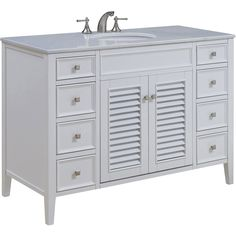 "Cape Cod 48"" Single Bathroom Vanity Set, White"