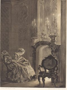 Adolph Menzel (1815 - 1905), Woman before a Fire, 1851. Lithograph on wove paper. Dorgerloh, no. 642, Ailsa Mellon Bruce Fund. This piece of art represent a scene from the 18th century, drawn by an artist of the 19th century. They dreamed about the elegance of the the past century, especially here in this gorgeous fireplace.