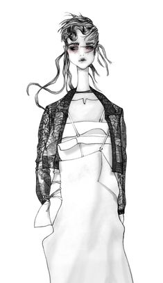 Fashion illustration of a look by Yohji Yamamoto, Spring 2015 // Issa Grimm