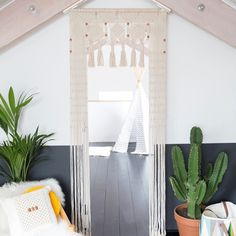 Our Stevie Beaded Door Hanging creates a breathtaking entranceway to any room and will make your home feel like a Bohemian palace. It has been created to fit a standard doorway. Middle Eastern Decor, Rope Basket, Crochet Yarn, Plant Hanger, Pendant Lighting, Fun Crafts, Wall Decor, Doors, Curtains