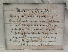 Mother Daughter Wood Sign or Canvas Wall Hanging - White Pallet - Christmas…