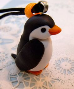 Handmade Polymer Clay Penguin Necklace by ShopArtinHeaven on Etsy, $10.00