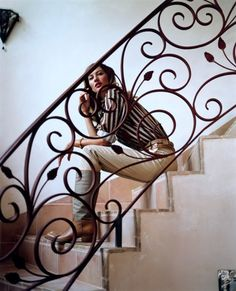 Vogue UK Issue: June 2004 Title: High Summer Photographer: Carter Smith Model: G. Wrought Iron Staircase, Wrought Iron Stair Railing, Stair Railing Design, Metal Stairs, Staircase Railings, Banisters, Stairways, Balustrade Inox, Interior Stairs