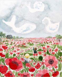 Bridget Beth Collins @Flora.Forager Garden Illustration, Poppies, Flora, Tapestry, Sky, Painting, Animals, Instagram, Decor