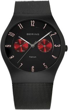 Bering Mens Black Dial Mesh Band Titanium Classic Watch 11939-229