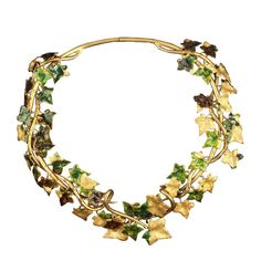 Necklace ❤ liked on Polyvore featuring jewelry, necklaces, accessories, jewels, green, gold, leaves, brooklyn museum, vines and vine jewelry