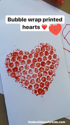 Bubble Wrap Printed Hearts – such a fun Valentine's Day card idea. Perfect for… Bubble Wrap Printed Hearts – such a fun Valentine's Day card idea. Perfect for toddlers or preschoolers for a Valentine's Day craft too! Kids Crafts, Bunny Crafts, Toddler Crafts, Preschool Crafts, Unicorn Crafts, Jar Crafts, Toddler Preschool, Resin Crafts, Easter Crafts