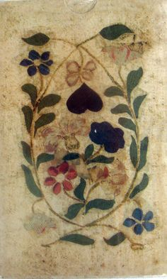 Silk cloth playing cards. XVII century, France