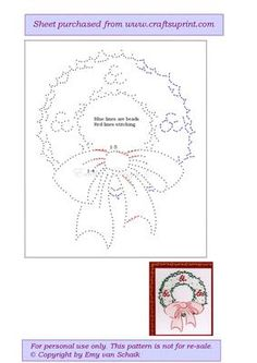 ED026 Christmas wreath on Craftsuprint designed by Emy van Schaik - Stitching with beads - Now available for download!