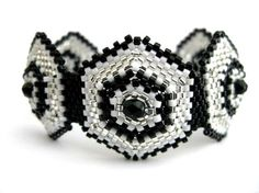 Beadwork Peyote Bracelet in Silver Black and by MadeByKatarina  #beadwork