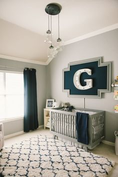 Modern Grey, Navy and White Baby Boy Nursery - love this look!