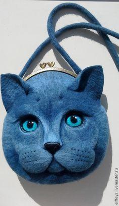 """Купить Сумочка """"Кот ученый.."""" - синий, рисунок, сумка из войлока, сумка ручной работы"""