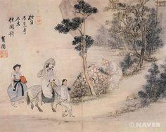 (Korea) 聞鍾尋寺 by Shin Yun-bok (1758~ ?). ca 18th century CE. Joseon Kingdom, Korea. colors on paper.