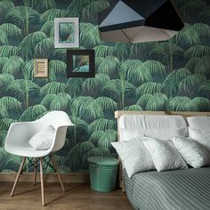 Painted Tropical handmade paper - Jungle Wall Paper 10 m X 0.5 m - consolidated roller Rolls Non-woven. Made in France