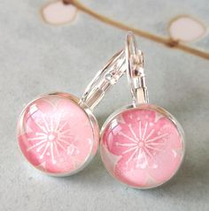 Japanese Chiyogami Earrings. Fresh Spring Flower by auryndesign, $12.00