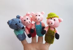 The three little Pigs, Finger Puppets, crochet puppets, crochet finger theater, pig, wolf, amigurumi, theater, Waldorf toy, home school accessory.   There are handmade finger puppets for kids. There are adorable set of toys. They are crocheted from acrylic yarn and filled with fyberfill. Finger Puppets are great gifts for kids. They are funny and amazing. Game with finger puppets develops childrens imagination.  The set of finger puppets includes:  - 3 pings;  - wolf;  Also you can also buy…