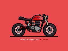 Triumph Bonneville Mad Max designed by Christopher Colouryum. Connect with them on Dribbble; Motorcycle Art, Bike Art, Estilo Cafe Racer, Logo Esport, Bike Icon, Bike Drawing, Bike Tattoos, Bike Illustration, Triumph Bonneville