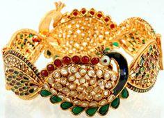 Polki Bracelet with Peacock - Copper Alloy with Glass: Amazon.co.uk: Jewellery