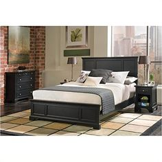 Home Styles 5531-500 Bedford Queen Bed, Black Ebony Finish //http://bestadjustablebed.us/product/home-styles-5531-500-bedford-queen-bed-black-ebony-finish/