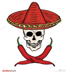 vector skull in a Mexican sombrero and ?ross of chili peppers