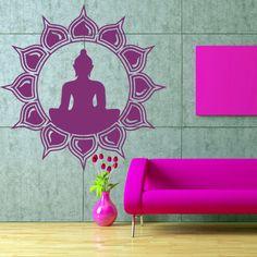 Wall decal art decor decals sticker hands Buddhism India Indian circle namaste Buddha OM Yoga success god lord (m63)