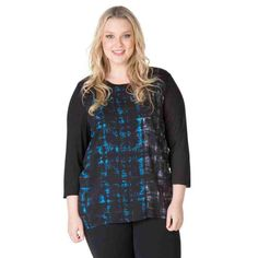 PRE-ORDER - Mixed media panel tops (BLUE/BLACK ABSTRACT CHECK PRINT) $59.95 http://www.curvyclothing.com.au/index.php?route=product/product&path=95_104&product_id=6822
