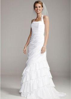 Amazon.com: David's Bridal Satin Side Drape Gown with Tiered Skirt Style SAS1218: ClothingPrice: $215.00