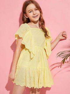 Girls Dresses Sewing, Cute Girl Dresses, Little Girl Dresses, Stylish Dresses, Girls Fashion Clothes, Fashion Kids, Girl Fashion, Kids Frocks, Frocks For Girls