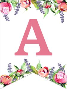 Printable Alphabet Letters Free New Floral Free Printable Alphabet Letters Banner Paper Alphabet Letters To Print, Free Printable Alphabet Letters, Alphabet Templates, Flower Alphabet, Design Alphabet, Printable Designs, Free Printables, Printable Birthday Banner, Free Printable Banner