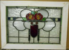 "MID SIZED OLD ENGLISH LEADED STAINED GLASS WINDOW Stunning Floral 30.5"" x 22.25"" in Antiques, Architectural & Garden, Stained Glass Windows 