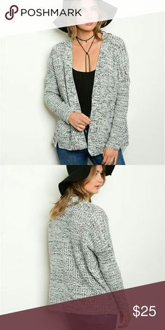 🆕Grey Sweater Knit Cardigan Your next everyday go to layering sweater! Features long sleeves, an open front, and sweater knit cardigan design. Functional pockets. Soft thick material to keep you stylishly warm. Super comfy!   Fabric Content: 100% ACRYLIC  Fit: Loose, Stretchy Timing Sweaters Cardigans