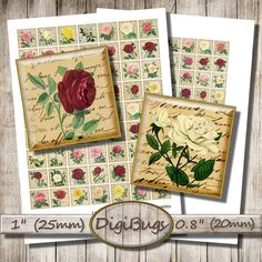 Old Roses Vintage Letters Postcards Digital Collage by DigiBugs Animal Silhouette, Vintage Lettering, Collage Sheet, Digital Collage, Collages, Postcards, Images, Decorative Boxes, Vintage Fashion