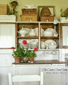Farm Home cabinet with wicker and ironstone
